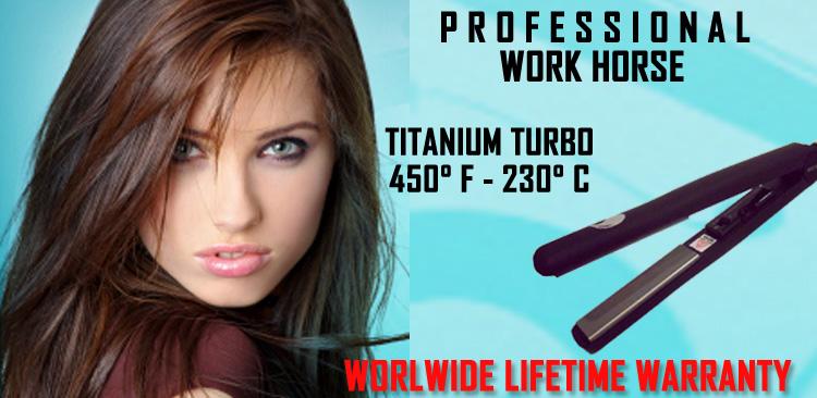 Утюжок для волос фирмы Wetline с титановыми пластинами