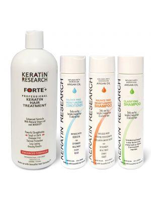 Keratin Forte Enhanced Formula complete Professional Keratin Hair Treatment Set 1000ml With Moroccan Argan Oil