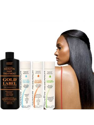 Gold Label 1000ml XL SET Professional Keratin Hair Treatment Specifically Designed for Coarse curly Thick Hair