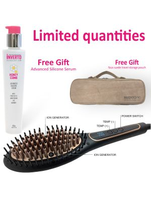Inverto Pro 4G Straightening Copper Ceramic Brush 4th Generation with true 2X ionic generators Adjustable Temp, smooth hair quickly, Ergonomic design Dual Voltage Worldwide travel Auto 110V-220V plus free gift