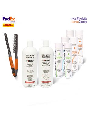 Complete Jumbo kit Brazilian Keratin Hair Treatment 2x Keratin Forte enhanced formula With Moroccan Argan oil Free Express Shipping Worldwide