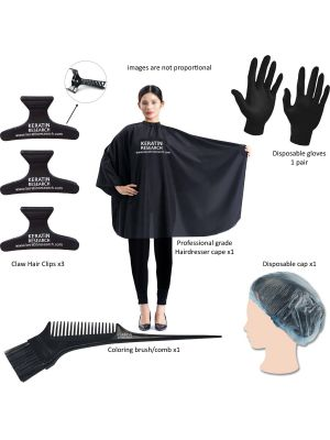 STARTER TOOL KIT FOR Brazilian Keratin Blowout Treatment and Hair Straightening & Coloring Tools Kit Hair Dresser Cape Coloring Brush/comb Hair Clips Disposable Gloves and Shower Cap