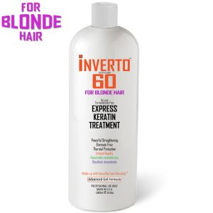 For Blondes INVERTO 60 Brazilian Keratin Express Blowout Treatment Specifically Designed for blonde and Light Colored Hair Formaldehyde Free by Inverto Revolution 1000ml