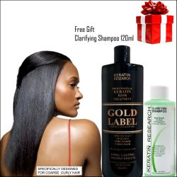 Gold Label Professional Keratin Treatment Super Enhanced Formula Specifically Designed for Coarse Curly Black, Dominican and Brazilian Hair types 240ml with bonus clarifying shampoo 120ml
