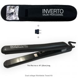 "Inverto pro 1"" polished ceramic plates flat iron hair straightener & curler. With Free thermal pouch and euro travel adapter, worldwide dual voltage great for keratin treatments and for hair curling"