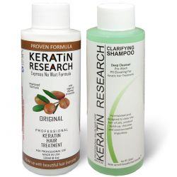 Brazilian Keratin hair treatment The Original Formula by Keratin research 120ml Keratin Hair Treatment With Moroccan Argan oil and Clarifying shampoo