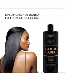 Gold Label Professional Keratin Treatment Super Enhanced Formula Specifically Designed for Coarse Curly Black, Dominican and Brazilian Hair types 240ml
