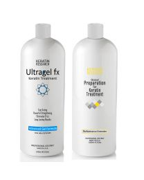 UltraGel FX Brazilian Keratin Blowout Hair Treatment 1000ml with Advanced Gel and Pre-Treatment Booster