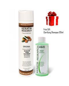 Original Formula 300ml Keratin Hair Blowout Treatment With Moroccan Argan oil with bonus clarifying shampoo 120ml